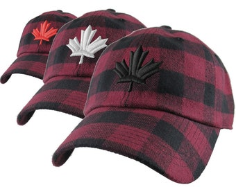 3D Puff Canadian Maple Leaf Embroidery on a Burgundy Red Buffalo Check Plaid Pattern Soft Structured Fashion Baseball Cap Dad Hat Style