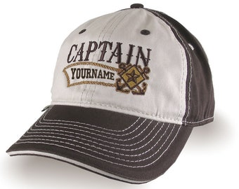 Nautical Star Crossed Anchors Boat Captain and Crew Personalized Embroidery Adjustable Brown Unstructured Baseball Cap with Options