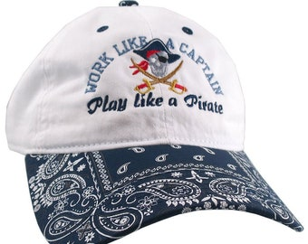 Work Like A Captain Play Like A Pirate Embroidery Adjustable Navy and White Unstructured Ball Cap Dad Hat + Option to Personalize the Back