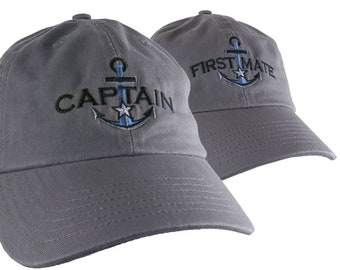 Nautical Silver Star Anchor Captain and First Mate Embroidery 2 Adjustable Grey Unstructured Casual Dad Hats Option to Personalize Both Hats
