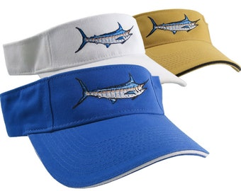 Blue Marlin Fish Nautical Embroidery on a selection of Visor Caps Adjustable Elegant Fashion Sun Hats