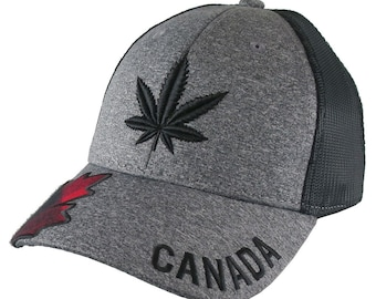 Cannabis Pot Leaf 3D Puff Black Embroidery and Red Buffalo Check Plaid on Adjustable Heather Grey and Black Trucker Style Baseball Cap