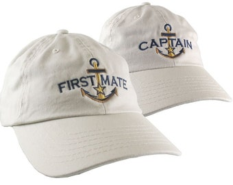 Nautical Star Golden Anchor Captain First Mate Embroidery 2 Adjustable Beige Unstructured Casual Dad Hats Option to Personalize Both Hats