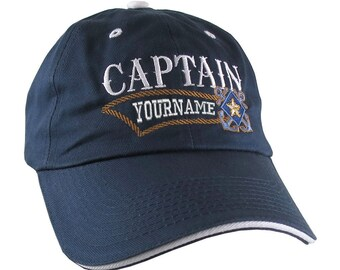 Nautical Star Crossed Anchors Boat Captain and Crew Personalized Embroidery Adjustable Navy Blue and White Unstructured Ball Cap and Options