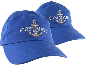 Nautical Star Golden Anchor Captain First Mate Embroidery 2 Adjustable Royal Blue Unstructured Casual Dad Hats Option Personalize Both Hats