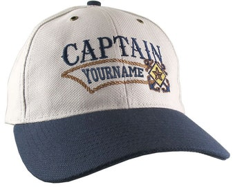 Nautical Star Crossed Anchors Boat Captain and Crew Personalized Embroidery Adjustable Beige and Navy Structured Baseball Cap with Options