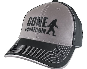 Gone Squatchin Humorous Sasquatch Bigfoot Silhouette Black Embroidery on an Adjustable Grey and Black Stylish Baseball Cap