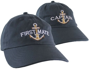Nautical Star Golden Anchor Captain First Mate Embroidery 2 Adjustable Navy Blue Unstructured Casual Dad Hats Option Personalize Both Hats