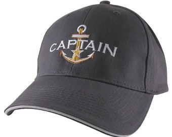 Personalized Captain Star Anchor Embroidery Adjustable Charcoal and White Structured Fashion Baseball Cap + Options to Personalize Side Back