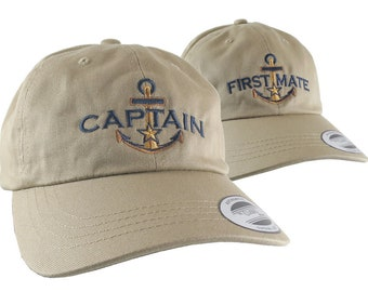 Captain and First Mate Nautical Couple Embroidery on Adjustable Khaki Beige Unstructured Dad Hat Style Baseball Caps Options to Personalize