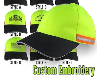 Custom Personalized Black Embroidery on an Adjustable Safety Yellow Reflective Full Fit Baseball Cap Choice of 9 Front Construction Decors
