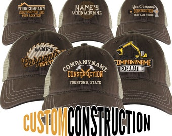 Personalized Custom Construction Renovation Contractor Carpenter Builder Embroidery on an Adjustable Brown and Tan Unstructured Mesh Cap