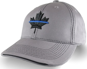 Canadian Maple Leaf Thin Blue Line Canada Police 3D Puff Embroidery on Adjustable Silver Grey Structured Adjustable Baseball Cap and Options