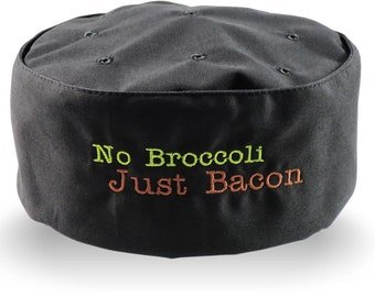 No Broccoli Just Bacon Embroidery on an Adjustable Restaurant Style Black Pillbox Chef Hat