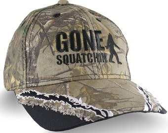 Custom Gone Squatchin Sasquatch Bigfoot Embroidery on an Adjustable Full Fit Structured Realtree Camo Baseball Cap Fashion Hat