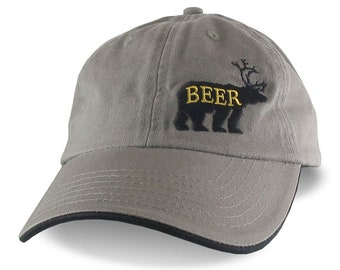 Deer Plus Bear for Beer Humorous Black Embroidery on an Adjustable Khaki and Black Unstructured Fashion Baseball Cap