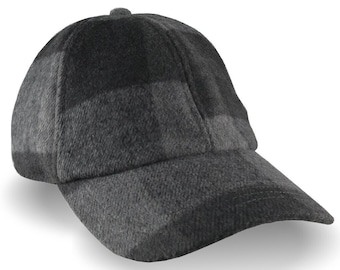 Charcoal and Black Buffalo Check Plaid Wool Blend Fashion Adjustable Unstructured Dad Hat Style Low Profile Cap Winter Hat with Options