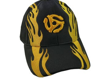 Vibrant DJ Disc Jockey Retro Yellow 45 Spacer 3D Puff Style Embroidery Design on a Black Adjustable Structured Fashion Flaming Baseball Cap