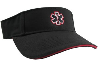 Paramedic Red Star of Life Caduceus EMT EMS Embroidery on an Adjustable Black Brushed Cotton Visor Summer Hat Trimmed in Red