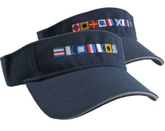 Captain and First Mate done in Nautical Flags Embroidery Couple Navy Blue Visors Duo Adjustable Comfy Fashion Sun Hats