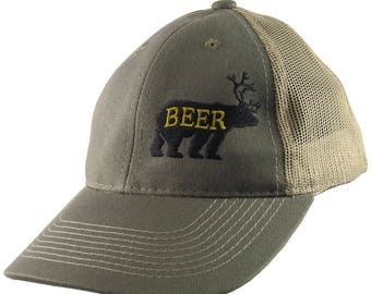 Deer Plus Bear for Beer Humorous Black Embroidery on an Adjustable Olive Green and Tan Structured Truckers Style Snapback Ball Cap