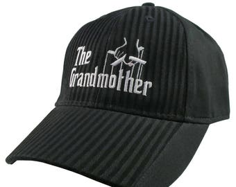 The Grandmother Godfather Style White Embroidery Adjustable Fashion Stylish Structured Black Textured Stripes Black on Black Baseball Cap