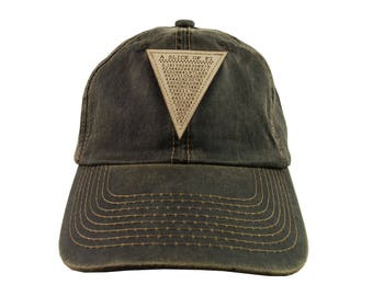 A Slice of Pi Math Pun Laser Engraved Genuine Leather Patch Sewn on an Adjustable Brown Weathered Oil Skin Style Baseball Cap