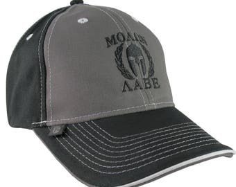 e60b93dedb8e5 Molon Labe Spartan Warrior Mask in Laurels Black Embroidery on an  Adjustable Grey and Black Structured Baseball Cap
