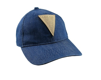 A Slice of Pi Math Pun Laser Engraved Genuine Leather Patch Sewn on an Adjustable Blue Denim Baseball Cap