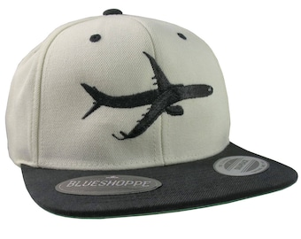 Aircraft Black Jet Flying Silhouette Embroidery on an Adjustable Beige and Black Structured Flat Bill Snapback Urban Street Fashion Ball Cap