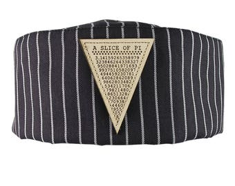 A Slice of Pi Math Pun Laser Engraved Genuine Leather Patch Sewn on an Adjustable Cook Style Black and White Stripes Pillbox Hat