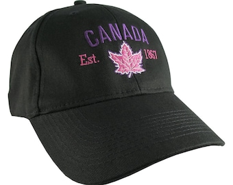 Canada Established 1867 Retro Style Maple Leaf Purple and Fuchsia Embroidery on an Adjustable Black Structured Baseball Cap