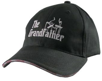 The Grandfather Godfather Style Parody White Embroidery on an Adjustable Fashion Structured Black Baseball Cap in Stylish Canadian Details