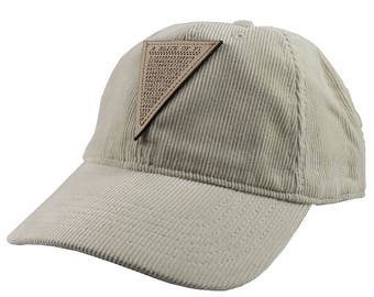 A Slice of Pi Math Pun Laser Engraved Genuine Leather Patch Sewn on an Adjustable Beige Corduroy and Plaid Baseball Cap