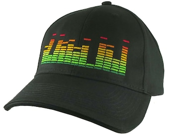 DJ Club Music Sound Equalizer Graphic Embroidery on an Adjustable Black Structured Baseball Cap with Options to Personalize