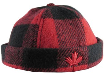 A Canadian Red Maple Leaf Canada 3D Puff Embroidery on a Red and Black Buffalo Check Beanie Style Winter Fashion Large to X-Large Woolen Hat