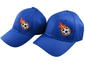 Pair of Sporty Soccer Ball Fire Bullet Embroidery Designs on 2 Royal Blue Adjustable Structured Baseball Caps for Adult + for Child Age 6-14