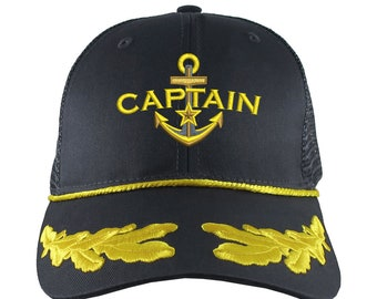 Boat Captain Nautical Star Anchor Embroidery on an Adjustable Structured Black with Laurels Classic Trucker Cap with Options to Personalize