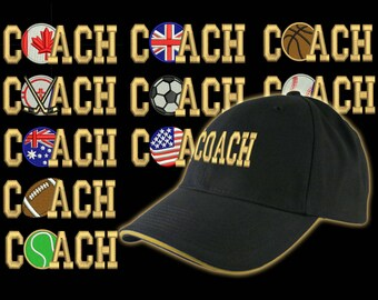 Custom Personalized Coach Embroidery on an Adjustable Structured Black Baseball Cap Front Decor Selection with Options for Side and Back