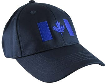 Canadian Flag Royal Blue Embroidery Design on a Navy Blue Adjustable Structured Baseball Cap for Kids Age 6 to 14 Tone on Tone Fashion Look