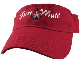 Nautical Star Anchor First Mate White Blue Gold Embroidery on a Red Unisex Adjustable Visor Cap for the Boating Enthusiast
