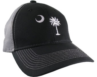 South Carolina State Flag Embroidery on an Adjustable Black and Silver Structured Full Fit Classic Trucker Mesh Cap