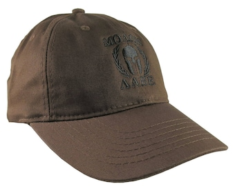 Molon Labe Spartan Warrior Mask in Laurels Black Embroidery on an Adjustable Brown Unstructured Baseball Cap