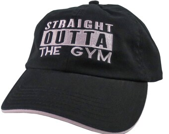 Straight Outta The Gym Pink Embroidery on an Adjustable Black and Pink Dad Hat Unstructured Baseball Cap
