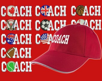 Custom Personalized Coach Embroidery on an Adjustable Structured Red Baseball Cap Front Decor Selection with Options for Side and Back