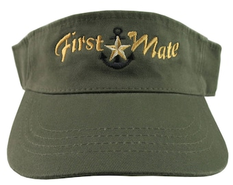 Nautical Star Anchor First Mate Golden Embroidery on an Army Green Unisex Adjustable Visor Cap for the Boating Enthusiast