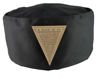 A Slice of Pi Math Pun Laser Engraved Genuine Leather Patch Sewn on an Adjustable Cook Style Black Pillbox Hat