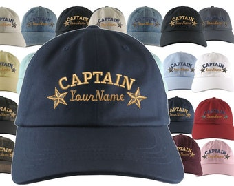 Custom Personalized Captain First Mate Skipper Crew Embroidery on a Selection of 21 Adjustable Unstructured Baseball Caps Dad Hat + Option