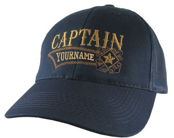 Nautical Star Crossed Rope Anchors Boat Captain and Crew Personalized Embroidery Adjustable Navy Blue Structured Trucker Mesh Cap + Option