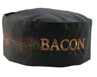 Humorous MMM... Bacon Embroidery on an Adjustable Cook Style Black Pillbox Hat